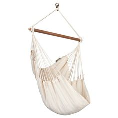 Enjoy pure relaxation in the basic hammock chair Modesta Latte, made of pure unbleached and undyed organic cotton! In addition, organic cotton is wonderfully soft to the touch, yet ea Hanging Hammock Chair, Outdoor Hammock, Hammock Swing, Swinging Chair, Indoor Swing, Outdoor Lounge, Antique White Furniture, Cream Furniture, Furniture Chairs