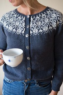 Ravelry: Lotusblomstkofte / Lotus flower jacket pattern by Marianne J. Bjerkman Pattern is available in English and Norwegian, both versions will made available upon purchase. Fair Isle Knitting Patterns, Fair Isle Pattern, Knit Patterns, Drops Baby Alpaca Silk, Drops Kid Silk, Big Comfy Sweaters, Baby Kimono, Icelandic Sweaters, Ravelry