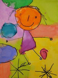 'Ruby Plays' - by Ruby @ New Horizons Preschool Art Drawings For Kids, Drawing For Kids, Art For Kids, Kids Painting Activities, Painting For Kids, Diy Old Books, Kindergarten Art Projects, Artist Project, Street Graffiti
