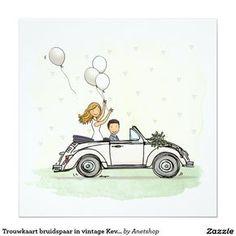 Wedding invitation wedding couple in vintage Beetle convertible Wedding Day Cards, Wedding Gifts, Paper Cards, Diy Cards, Invitation Cards, Invitations, Wedding Invitation, Just Married Car, Wedding Canvas