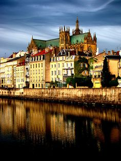 Metz Cathedral, France.  I spent many Saturdays at the Metz Antique Market, stopping for cream puffs