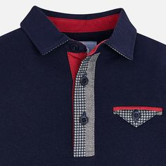 Polo, L/S, Houndstooth Trim, Navy, - Hollyhocks Childrens Boutique Mens Polo T Shirts, Polo Tees, Boys T Shirts, Polo Rugby Shirt, Camisa Polo, T Shirt Lacoste, Terno Casual, Slim Fit Casual Shirts, African Men Fashion
