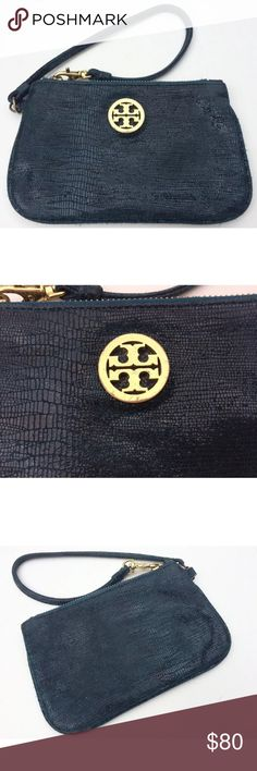 Tory Burch Small Leather Clutch Beautiful genuine leather navy blue Tory Burch clutch/wristlet. Pre-loved condition shown in second and last picture. Zipper still works perfectly and closes completely. Faux-crocodile embossed leather makes this bag perfect for dressing up or down. Tory Burch Bags Clutches & Wristlets