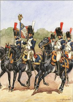 Grenadiers a Cheval of the Imperial Guard. Lieutenant Porte-Aigle and his escorts- two sous-officiers and 3 brigadiers. 1808-12. by Lucien Rousselot
