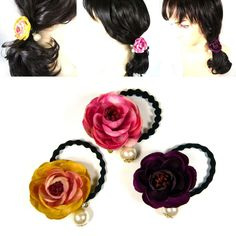Your place to buy and sell all things handmade Fabric Roses, Elastic Hair Bands, Ponytail Holders, Camellia, Hair Ties, Fashion Accessories, Dangles, Pearls, Boho