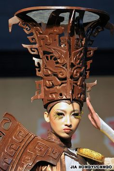 Awesome chocolate hat shown at the China chocolate fashion show to open China's World Chocolate Wonderland.