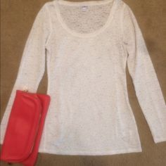Lace see through top Cute top to pair with jeans or dress pants! Off-white. Slight wear. Express Tops Blouses