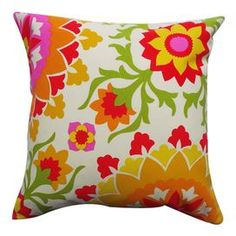 Indoor/outdoor pillow with a floral-inspired suzani motif.
