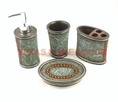 Western Floral Decorative Bathroom Set Turquoise 4 Piece Stitched Tooled  Leather