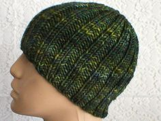 Green tweed superwash wool ribbed beanie hat, an ideal hat for men or women....