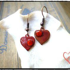 Boucles d 'oreilles, coeurs, vieux rose, rouge, émaillées, cuivre, émail, saint valentin, shabby chic