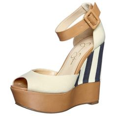 "Jessica Simpson Navy Striped Wedges SUMMER MUST-HAVE!!  Jessica Simpson Navy & Cream Striped Wedges are so fun and perfect for summertime!! Pair with a nice sundress or shorts/white jeans for going out.  Cute leather ankle strap with adjustable buckle and open toe. Linen and tan colors with 5"" wedge. Nearly perfect condition - only worn once!! Jessica Simpson Shoes Wedges"