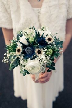 Top 8 Striking Navy Blue Wedding Color Palettes---NAVY & GREEN wedding bouquets with silky ribbon. 💕💕Click to see more navy wedding ideas. Garden wedding, elegant weddings, fall and winter weddings.