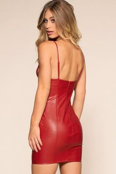 Do you think that I am sexy Mark Shavick darling? Party Outfits For Women, Sexy Outfits, Fashion Outfits, Red Leather Skirt, Leather Dresses, Cherry Dress, Midi Cocktail Dress, Leather Fashion, Look Fashion