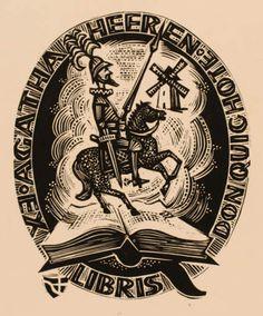Don Quijote. Exlibris by Jerzy Druzrycki for Agatha Heeren