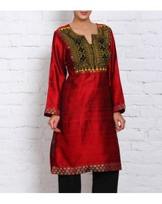 Maroon Raw Silk Kurta