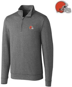 Cutter & Buck Men's Cleveland Browns Shoreline Quarter-Zip Pullover
