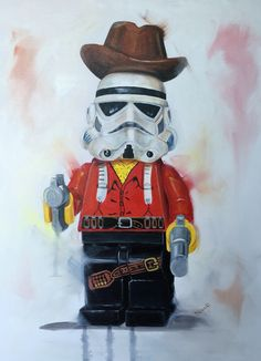 New one in my Troopers at work & play series.. Oil on canvas.. Needs a title though! #lego #stormtrooper #cowboys