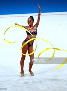 Russia's Alina Kabaeva in action during her Bronze medal winning performance