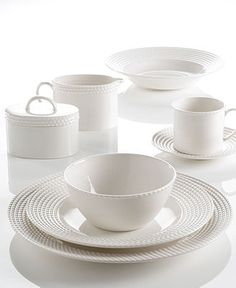 kate spade new york Dinnerware Wickford Dinnerware Collection - White Dinnerware - Dining \u0026 Entertaining  sc 1 st  Pinterest & Textured Dinner Plate Set of 4 Cloud Line | Westelm Products and ...