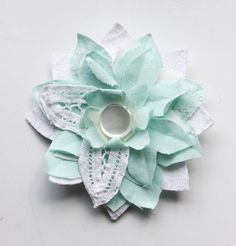 Pale Turquoise and Lace Vintage Fabric Clip by tinkershoppe, $16.00