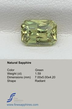Green sapphire has gain lot of popularity during recent times and it is amongst one of the most requested stones. Color Green Origin Madagascar Weight 1.59Ct Dimensions 7.00x5.00x4.20mm Shape Radiant Enhancement None FS032 Sapphire Color, Green Sapphire, Natural Sapphire, Madagascar, Gain, Shape, Gemstones, Crystals, Unique Jewelry