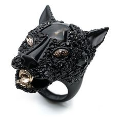 Alexis Bittar Crystal Encrusted Panther Ring ($295) ❤ liked on Polyvore featuring jewelry, rings, black, handcrafted gold rings, gold jewellery, handcrafted jewelry, handcrafted gold jewelry and handcrafted jewellery