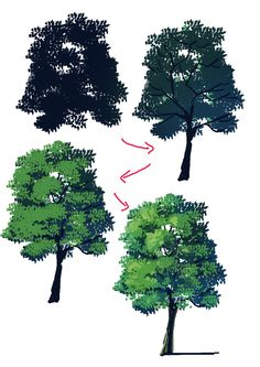 Come disegnare gli alberi Hello everyone! Drawing trees seems easy but in reality it is not. Digital Painting Tutorials, Digital Art Tutorial, Art Tutorials, Digital Paintings, Drawing Tutorials, Poses References, Art Reference Poses, Art Studies, Painting Techniques