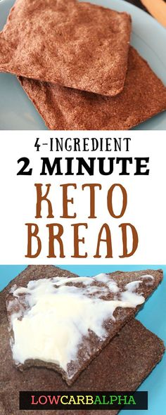 Low carb keto flax bread https://lowcarbalpha.com/keto-flax-bread/ Easy to make 2 minute microwave ketogenic bread recipe #lowcarb #keto #lchf #lowcarbalpha