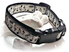 Music Notes Dog Collar / Adjustable / Black and White / Nylon Webbing / Music Lovers Dog / Female Dog Collar / Male Dog Collar / Medium Dog by SparklePupBoutique on Etsy