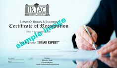 Intac Brand Expert Certificate... For those who are in MLM or want to become Professional Beautician.