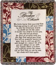 """Beautiful Bereavement Poem by Ron Tranmer called """"The Broken Chain"""" on a Throw Blanket"""