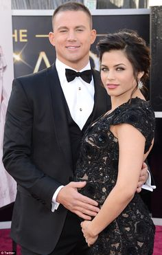 Hollywood hunk....Channing suited up for the Oscars, posing with his pretty wife Jenna Dewan-Tatum