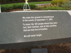 Took a walk today, to visit the Pentagon Memorial. 2001 at am an airplane crashed into the side of the Pentagon. Patriots Day, We Will Never Forget, World Trade, September 11, Freedom, Memories, Airplane, Life