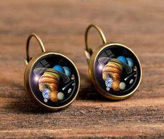 vintage universe galaxy earrings glass dome rhinestone earring retro handmade earring accessories jewelry C-E292 #Affiliate