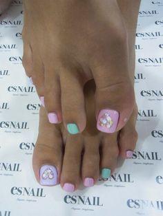 pretty pastels and almond nails Pedicure Nail Art, Toe Nail Art, Nail Manicure, Cute Toenail Designs, Pedicure Designs, Toe Nail Designs, Pretty Toe Nails, Love Nails, Get Nails