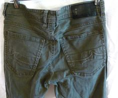 Mens I Jeans By Buffalo Ethan Sargent Green Super Slim Jeans Size 32 x 30 #IjeansbyBuffalo #SlimSkinny