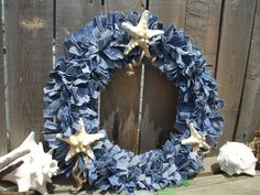 Surfs Up Denim Rag Wreath with Natural Knobby White Starfish and Jute Cotton Denim Fabric 3 White Genuine Knobby Starfish 2 row frame Nautical Wreath, Nautical Theme Decor, Beach Crafts, Summer Crafts, Door Wreaths, Rag Wreaths, Coastal Quilts, Burlap Garland, Denim Crafts