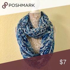 Beautiful Blue Infinity Scarf Preowned cotton infinity scarf. Beautiful accent to any outfit Accessories Scarves & Wraps