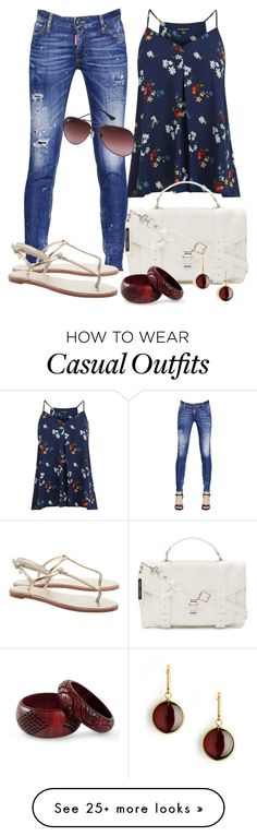 """Casual"" by alice-fortuna on Polyvore featuring Dsquared2, Warehouse, Proenza Schouler, Ray-Ban, NOVICA and Syna"