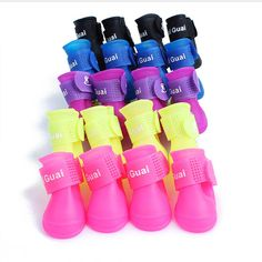 4Pcs Pet Dog Puppy Rain Boots Booties Shoes Waterproof Protective Size S