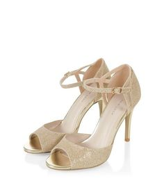 Gold Bridal Glitter Ankle Strap Heels  | New Look