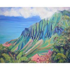 kauai art prints, kalalau valley paintings, 8x10 giclee print,... (€24) ❤ liked on Polyvore featuring home, home decor, wall art, giclee painting, hawaiian home decor, unframed wall art, white wall art and hawaiian paintings
