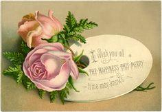 Shabby Roses Christmas Image