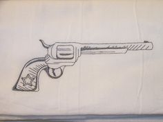 Embroidered pistol on a 100 percent cotton flour sack towel