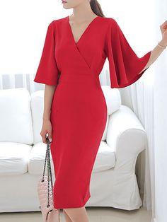 fb1d690c681 Surplice Neck Midi Dresses Sheath Date Bell Sleeve Work Slit Solid Dresses