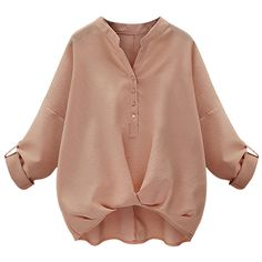 Womens Chic Plain V Neck Pleated Hem Pullover Blouse Pink ($19) ❤ liked on Polyvore featuring tops, blouses, pink, v neck pullover, pink pullover, v-neck pullover, pullover tops and pullover blouse