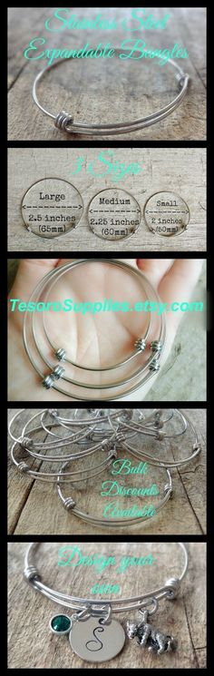 Stainless Steel Expandable Bangles - Bangle DIY - DIY Bracelets - Jewelry Making - Jewelry Supplies - TesoroSupplies.etsy.com #BraceletsJewelry