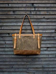 Waxed canvas bag/ carry all with  leather handles by treesizeverse