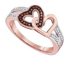0.15 cttw 10k Rose Gold Cognac Brown Diamond Pink Gold Engagement Ring Double Heart Promise